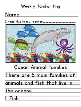 Ocean Animals Handwriting