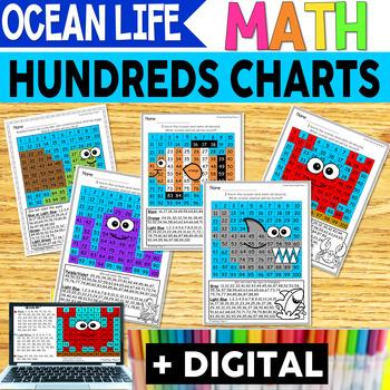 Ocean Animals Hundreds Chart Hidden Picture