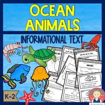 Ocean Animals Informational Booklet and ELA Printables for K-1