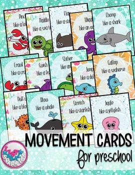 Ocean Animals Movement Cards for Preschool and Brain Break