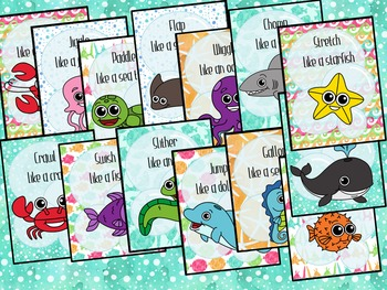 Ocean Animals Movement Cards for Preschool and Brain Break