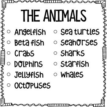 Ocean Animals - Non-Fiction, No Prep, Leveled Passages + graphic organizers