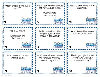 Ocean Animals - Nonfiction Task Cards and Worksheets