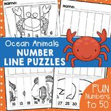 Ocean Animals Number Line Puzzles