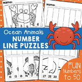 Ocean Animals Number Line Puzzles
