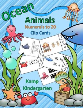 Ocean Animals Numerals to 20 Clip Cards