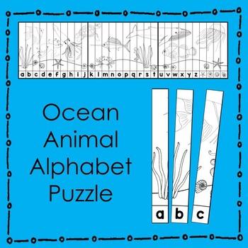 Ocean Animal Alphabet Puzzle (B&W) Literacy Center