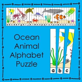 Ocean Animal Alphabet Puzzle (in color) Literacy Center