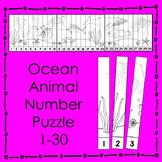 Ocean Animal Number Puzzle (B&W) Math Center