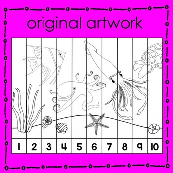 Ocean Animal Number Puzzle (B&W) Math Center
