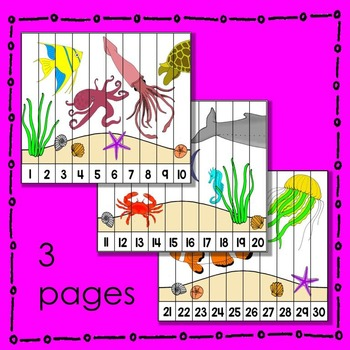 Ocean Animal Number Puzzle (in color) Math Center