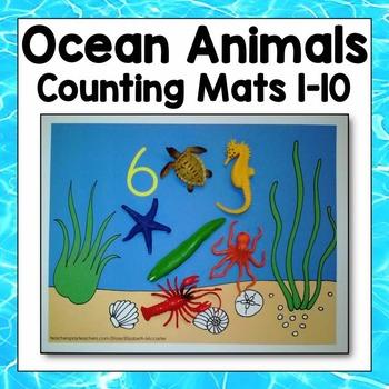 Ocean Animal Counting Mats 1-10 Math Center