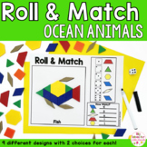 Ocean Animals Pattern Blocks Mat Roll and Match Game