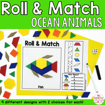 Ocean Animals Pattern Blocks Mat Roll and Match Game