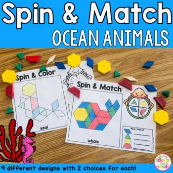 Ocean Animals Pattern Blocks Mat Spin and Match Game