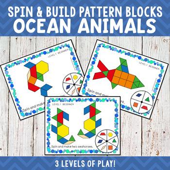 Ocean Animals Pattern Blocks Spin and Build