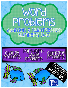 Ocean Animals & Plants Addition and Subtraction Word Problems - Numbers 0-10