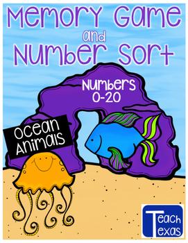 Ocean Animals & Plants Memory Game & Number Sort - Numbers 0-20