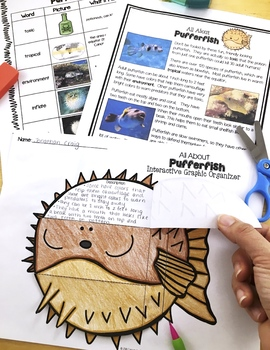 Ocean Animals Reading: Pufferfish Differentiated Passages & Comprehension
