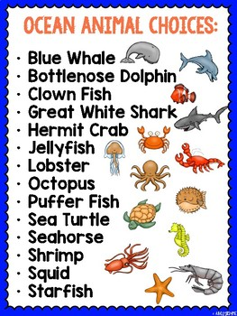 Ocean Animals- Researching and Presenting Animal Reports Using QR Codes