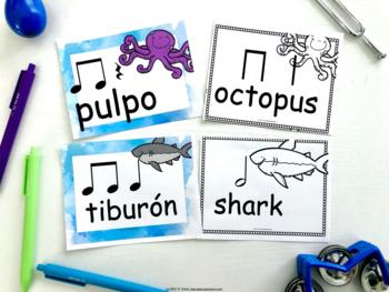 Ocean Animals Rhythm Cards in Spanish and English