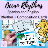 Ocean Animals Rhythm Cards in Spanish and English