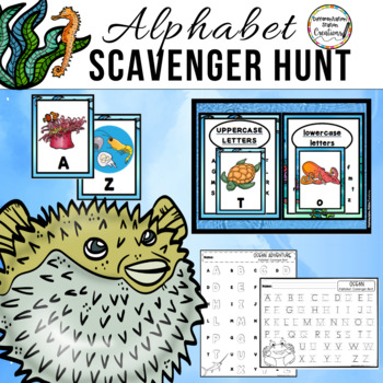 Ocean Animals Scavenger Hunt: Uppercase and Lowercase Letters, Printables