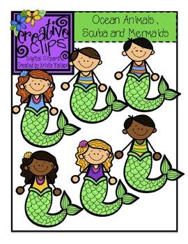 Ocean Animals, Scuba and Mermaid Kids {Creative Clips Digital Clipart}