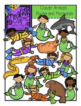 ocean animals scuba and mermaid kids creative clips digital clipart rh teacherspayteachers com Cartoon Ocean Ocean Waves