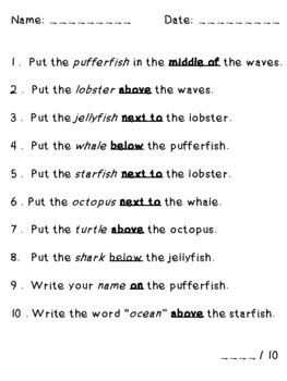 Ocean Animals Sea Animals Speech Therapy Following Directions