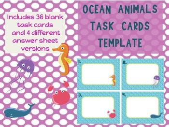 Ocean Animals Sea Creatures Task Cards Template