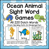 Ocean Animals Sight Word Game (Dolch Word Lists 1-11)