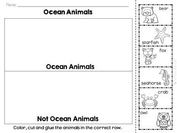 Ocean Animals Sorting Activities
