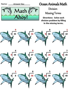 End of Year Activities: Ocean Animals Summer Math Drills