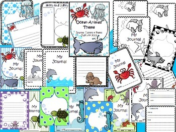 Ocean Animals Theme Journal Writing Notebook Papers