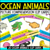 Ocean Animals Theme Task Cards: Picture Comprehension Clip Cards