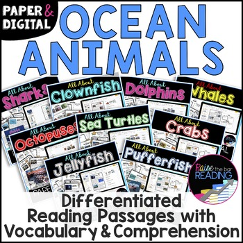 Ocean Animals Unit Bundle *DIGITAL AND PAPER* Reading Comprehension Passages