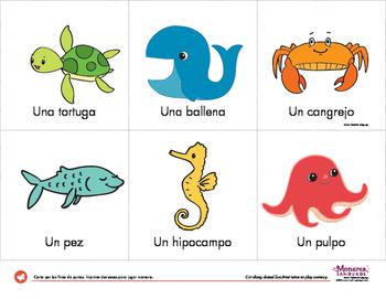 Ocean Animals Vocabulary Cards in Spanish