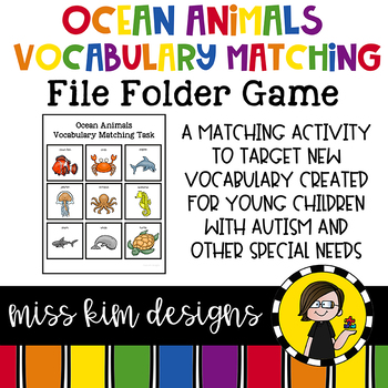 Ocean Animals Vocabulary Folder Game for Early Childhood Special Education