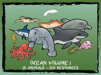 Ocean Animals Volume 1 -- 10 Wild Animals -- 100 K-2 Resources