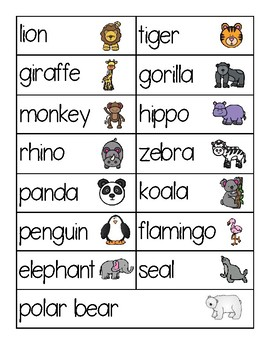 Zoo Animals Word Cards