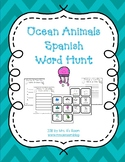 Ocean Animals Word Hunt/Write the Room in Spanish