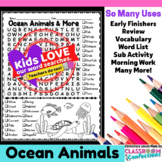 Ocean Animals Word Search Activity