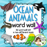 Ocean Animals Word Wall (30 word cards - two sizes)