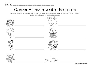 Ocean Animals Write the Room (8 words)
