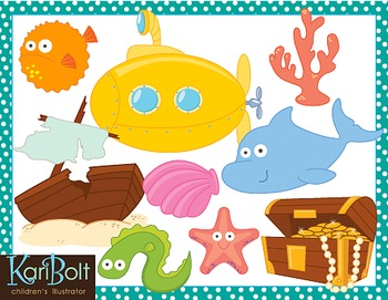 Ocean Animals and Scenes Clip Art
