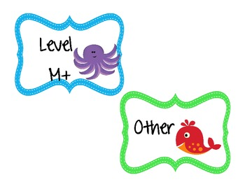 Ocean Animals -guided reading Book Bin labels A through M. Also Mon-Fri label