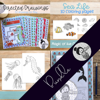 Ocean Art Activity Bundle (Sea themed coloring pages and directed drawings)