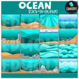 Ocean Backgrounds Clip Art Set {Educlips Clipart}