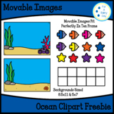 Ocean Backgrounds Clipart With Movable/Moveable Images Freebie